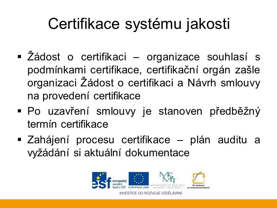 Certifikace systému jakosti  Žádost o certifikaci – organizace souhlasí s podmínkami certifikace, certifikační orgán zašle organizaci Žádost o certif