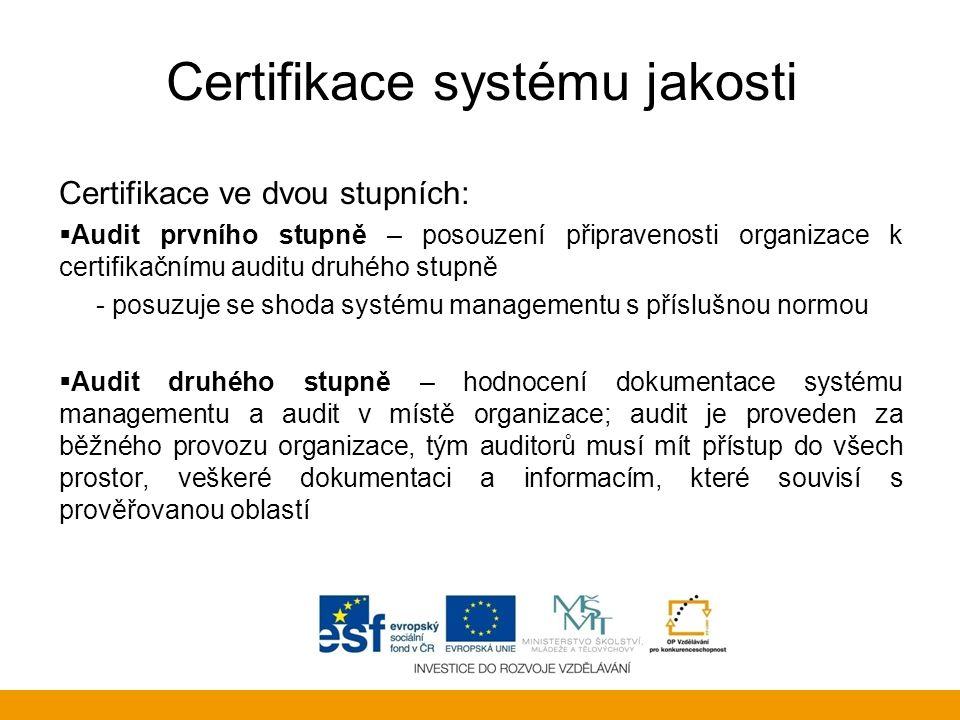 Certifikace systému jakosti Certifikace ve dvou stupních:  Audit prvního stupně – posouzení připravenosti organizace k certifikačnímu auditu druhého