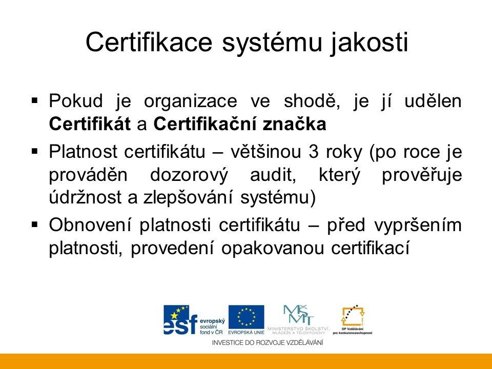 Certifikace systému jakosti  Pokud je organizace ve shodě, je jí udělen Certifikát a Certifikační značka  Platnost certifikátu – většinou 3 roky (po