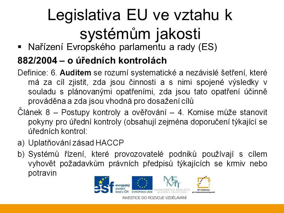 Legislativa EU ve vztahu k systémům jakosti  Nařízení Evropského parlamentu a rady (ES) 882/2004 – o úředních kontrolách Kapitola III Odběr vzorků a analýza Článek 11 Metody odběru vzorků a analýzy: 1.Metody odběru vzorků a analýzy používané v rámci úředních kontrol musí být v souladu s příslušnými pravidly Společenství nebo: a) pokud taková pravidla neexistují, s mezinárodně uznanými pravidly nebo protokoly, např.