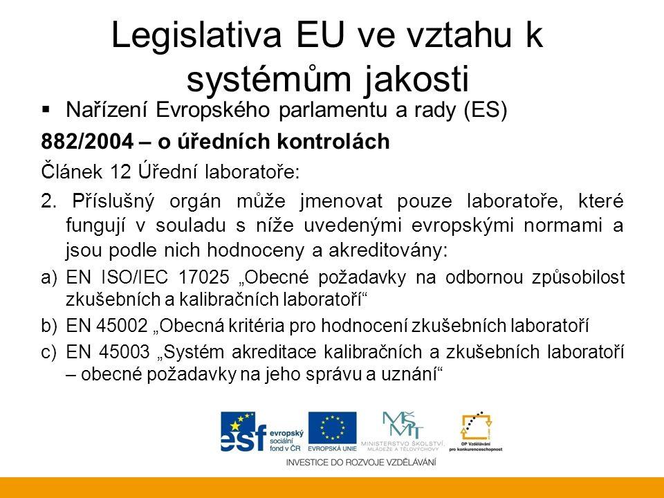 Legislativa EU ve vztahu k systémům jakosti  Nařízení Evropského parlamentu a rady (ES) 882/2004 – o úředních kontrolách Článek 12 Úřední laboratoře: