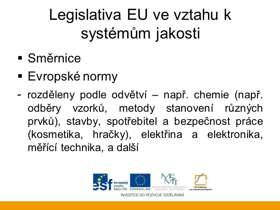 Legislativa EU ve vztahu k systémům jakosti  Směrnice  Evropské normy - rozděleny podle odvětví – např. chemie (např. odběry vzorků, metody stanoven