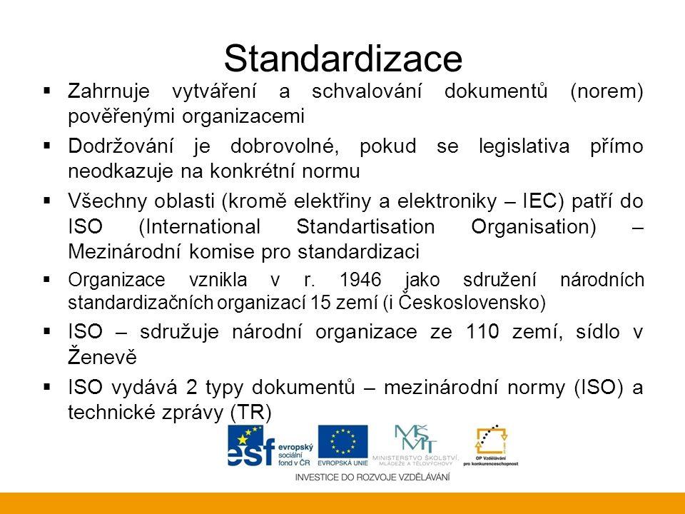 Standardizace  Zahrnuje vytváření a schvalování dokumentů (norem) pověřenými organizacemi  Dodržování je dobrovolné, pokud se legislativa přímo neod