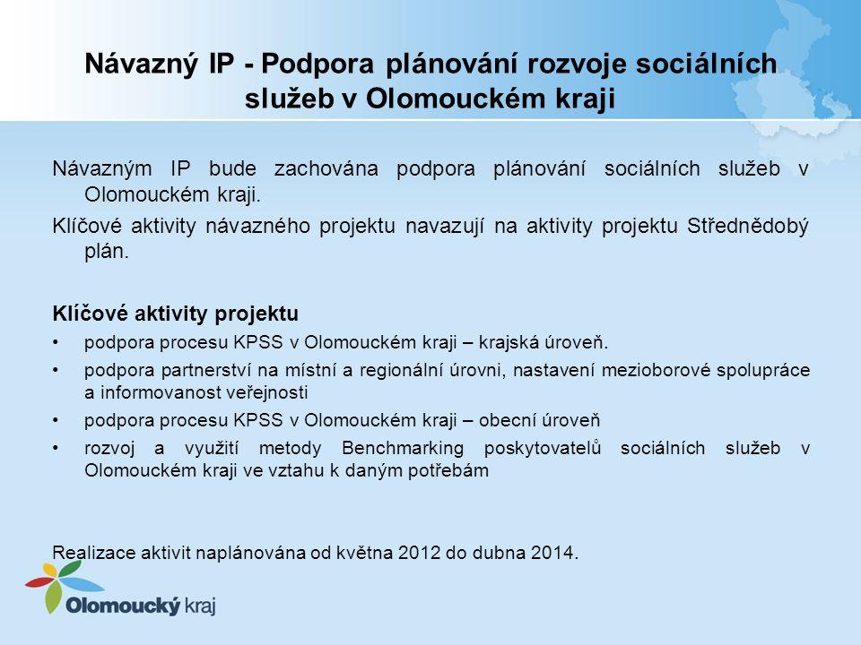 Návazný IP - Podpora plánování rozvoje sociálních služeb v Olomouckém kraji Návazným IP bude zachována podpora plánování sociálních služeb v Olomouckém kraji.