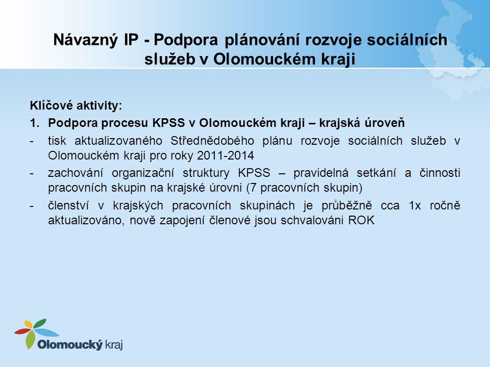 Návazný IP - Podpora plánování rozvoje sociálních služeb v Olomouckém kraji Klíčové aktivity: 1.Podpora procesu KPSS v Olomouckém kraji – krajská úroveň -tisk aktualizovaného Střednědobého plánu rozvoje sociálních služeb v Olomouckém kraji pro roky 2011-2014 -zachování organizační struktury KPSS – pravidelná setkání a činnosti pracovních skupin na krajské úrovni (7 pracovních skupin) -členství v krajských pracovních skupinách je průběžně cca 1x ročně aktualizováno, nově zapojení členové jsou schvalováni ROK