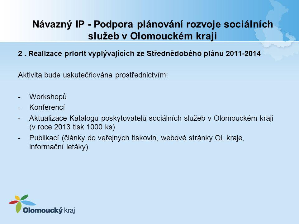 Návazný IP - Podpora plánování rozvoje sociálních služeb v Olomouckém kraji 2.