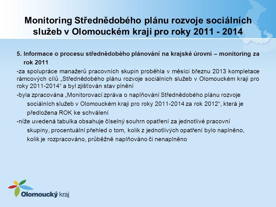 Monitoring Střednědobého plánu rozvoje sociálních služeb v Olomouckém kraji pro roky 2011 - 2014 5.