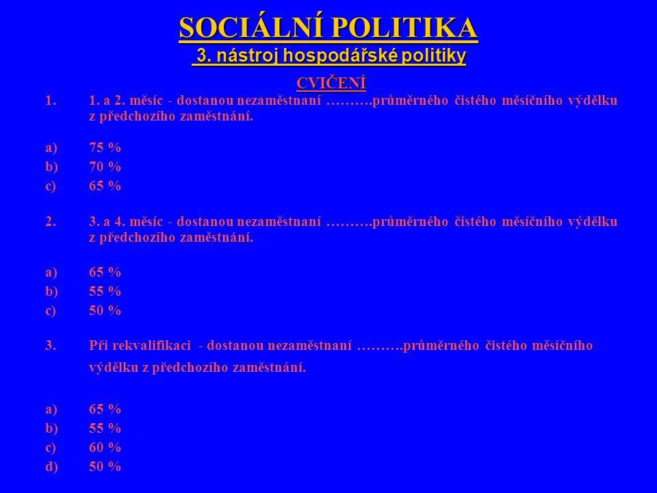 SOCIÁLNÍ POLITIKA 3. nástroj hospodářské politiky SOCIÁLNÍ POLITIKA 3.
