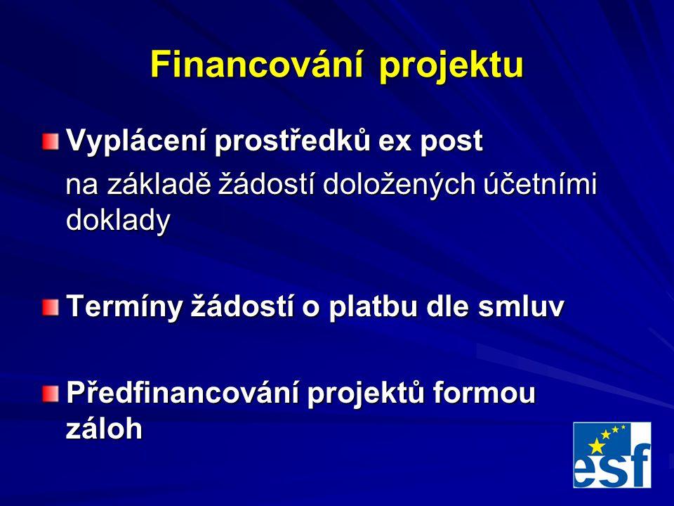 Financování projektu Vyplácení prostředků ex post na základě žádostí doložených účetními doklady na základě žádostí doložených účetními doklady Termíny žádostí o platbu dle smluv Předfinancování projektů formou záloh