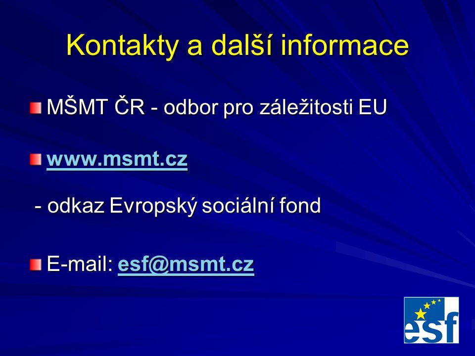 Kontakty a další informace MŠMT ČR - odbor pro záležitosti EU www.msmt.cz - odkaz Evropský sociální fond - odkaz Evropský sociální fond E-mail: esf@msmt.cz esf@msmt.cz