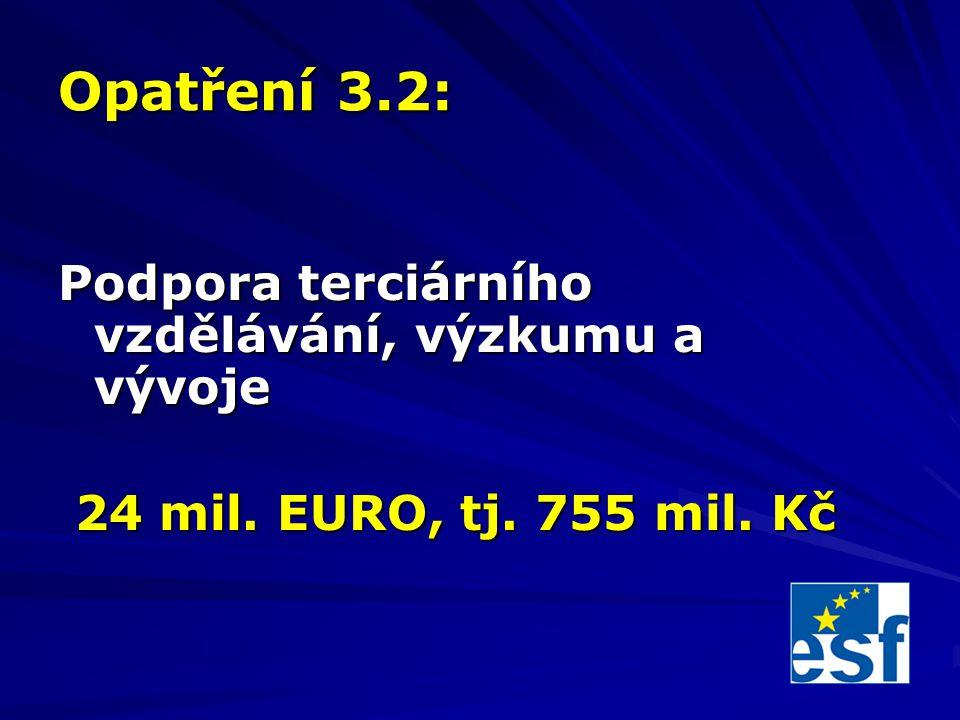 Opatření 3.2: Podpora terciárního vzdělávání, výzkumu a vývoje 24 mil.