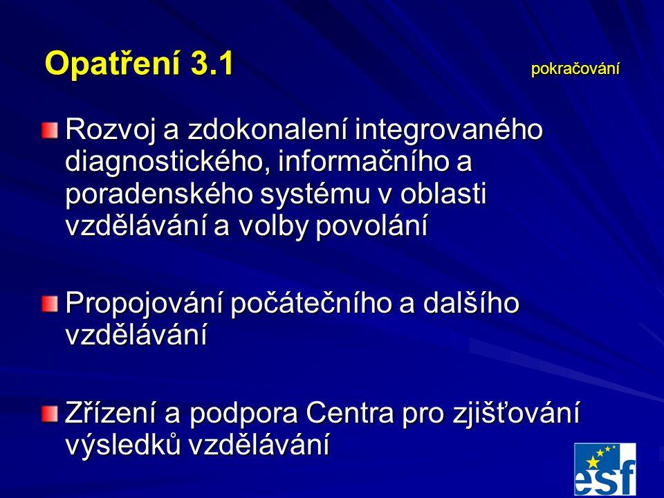Opatření 3.1 pokračování Rozvoj a zdokonalení integrovaného diagnostického, informačního a poradenského systému v oblasti vzdělávání a volby povolání Propojování počátečního a dalšího vzdělávání Zřízení a podpora Centra pro zjišťování výsledků vzdělávání