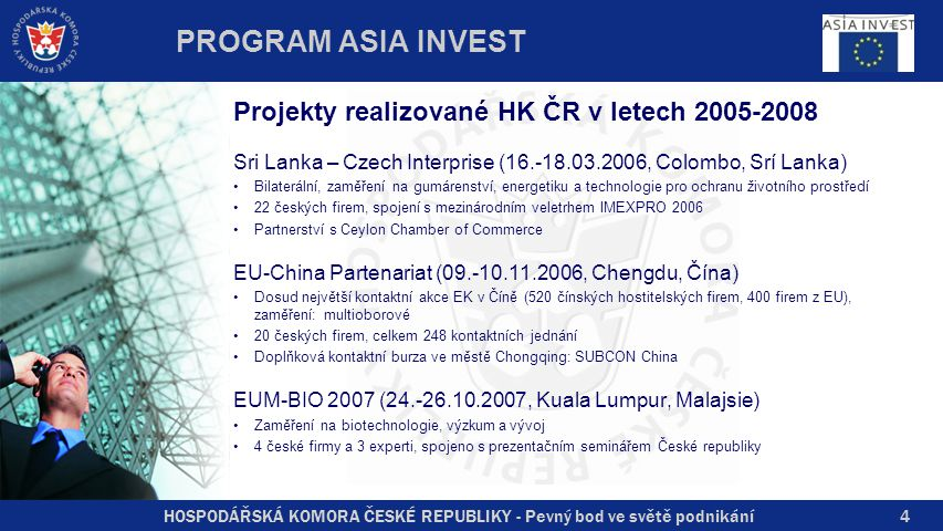 HOSPODÁŘSKÁ KOMORA ČESKÉ REPUBLIKY - Pevný bod ve světě podnikání4 Projekty realizované HK ČR v letech 2005-2008 Sri Lanka – Czech Interprise (16.-18.03.2006, Colombo, Srí Lanka) Bilaterální, zaměření na gumárenství, energetiku a technologie pro ochranu životního prostředí 22 českých firem, spojení s mezinárodním veletrhem IMEXPRO 2006 Partnerství s Ceylon Chamber of Commerce EU-China Partenariat (09.-10.11.2006, Chengdu, Čína) Dosud největší kontaktní akce EK v Číně (520 čínských hostitelských firem, 400 firem z EU), zaměření: multioborové 20 českých firem, celkem 248 kontaktních jednání Doplňková kontaktní burza ve městě Chongqing: SUBCON China EUM-BIO 2007 (24.-26.10.2007, Kuala Lumpur, Malajsie) Zaměření na biotechnologie, výzkum a vývoj 4 české firmy a 3 experti, spojeno s prezentačním seminářem České republiky PROGRAM ASIA INVEST