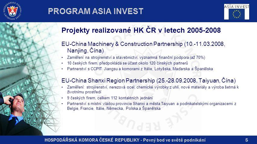 HOSPODÁŘSKÁ KOMORA ČESKÉ REPUBLIKY - Pevný bod ve světě podnikání5 Projekty realizované HK ČR v letech 2005-2008 EU-China Machinery & Construction Partnership (10.-11.03.2008, Nanjing, Čína) Zaměření na strojírenství a stavebnictví, významná finanční podpora (až 70%) 10 českých firem, předpokládá se účast okolo 120 čínských partnerů Partnerství s CCPIT Jiangsu a komorami z Itálie, Lotyšska, Maďarska a Španělska EU-China Shanxi Region Partnership (25.-28.09.2008, Taiyuan, Čína) Zaměření: strojírenství, nerezová ocel, chemické výrobky z uhlí, nové materiály a výroba šetrná k životnímu prostředí 9 českých firem, celkem 112 kontaktních jednání Partnerství s místní vládou provincie Shanxi a města Taiyuan a podnikatelskými organizacemi z Belgie, Francie, Itálie, Německa, Polska a Španělska PROGRAM ASIA INVEST