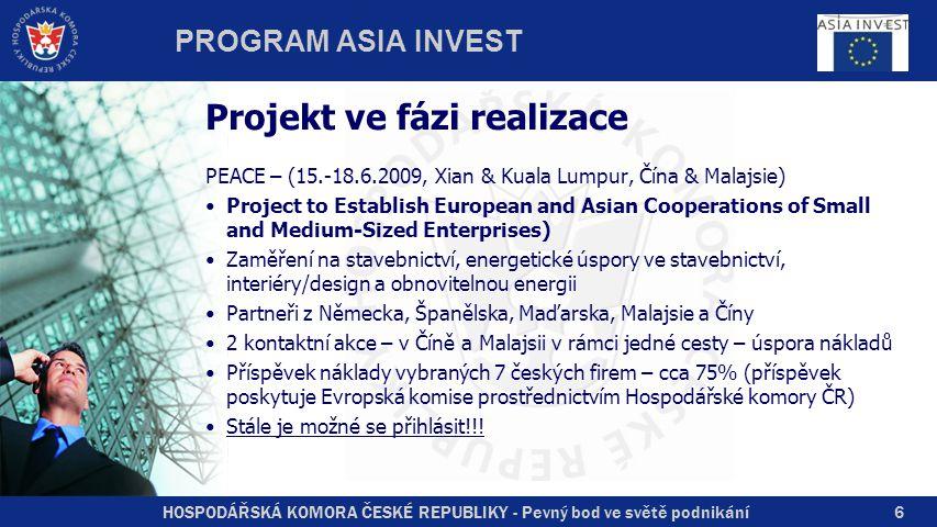 HOSPODÁŘSKÁ KOMORA ČESKÉ REPUBLIKY - Pevný bod ve světě podnikání Projekt ve fázi realizace PEACE – (15.-18.6.2009, Xian & Kuala Lumpur, Čína & Malajsie) Project to Establish European and Asian Cooperations of Small and Medium-Sized Enterprises) Zaměření na stavebnictví, energetické úspory ve stavebnictví, interiéry/design a obnovitelnou energii Partneři z Německa, Španělska, Maďarska, Malajsie a Číny 2 kontaktní akce – v Číně a Malajsii v rámci jedné cesty – úspora nákladů Příspěvek náklady vybraných 7 českých firem – cca 75% (příspěvek poskytuje Evropská komise prostřednictvím Hospodářské komory ČR) Stále je možné se přihlásit!!.