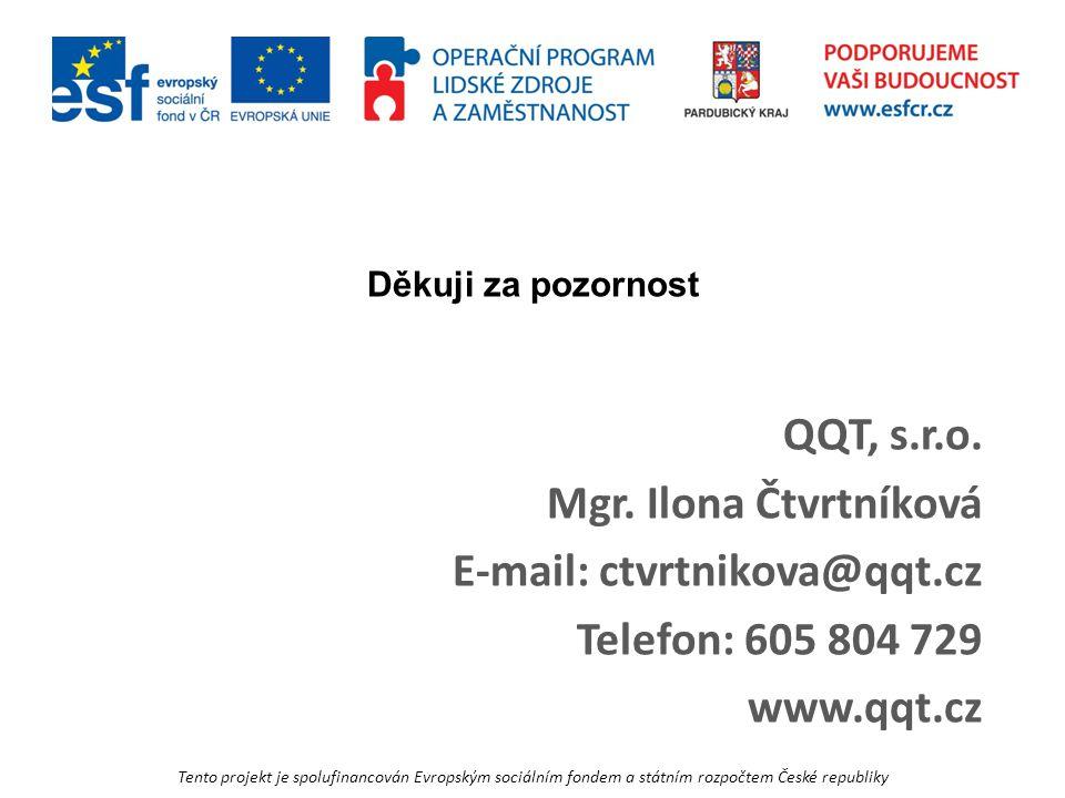 Tento projekt je spolufinancován Evropským sociálním fondem a státním rozpočtem České republiky Děkuji za pozornost QQT, s.r.o.