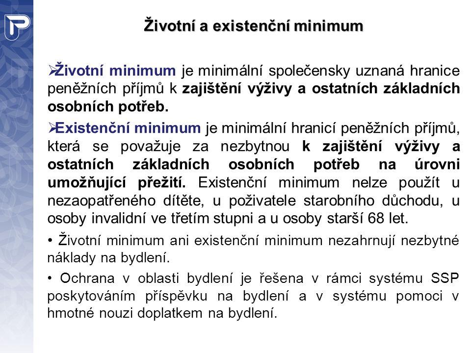 Životní a existenční minimum  Životní minimum je minimální společensky uznaná hranice peněžních příjmů k zajištění výživy a ostatních základních osob