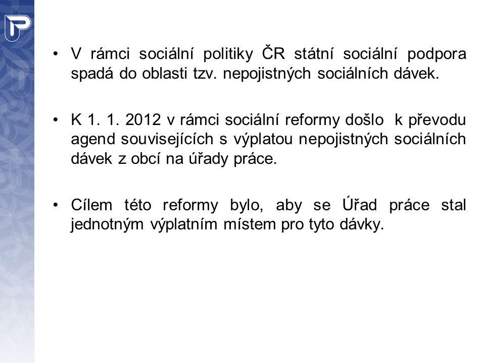 V rámci sociální politiky ČR státní sociální podpora spadá do oblasti tzv. nepojistných sociálních dávek. K 1. 1. 2012 v rámci sociální reformy došlo