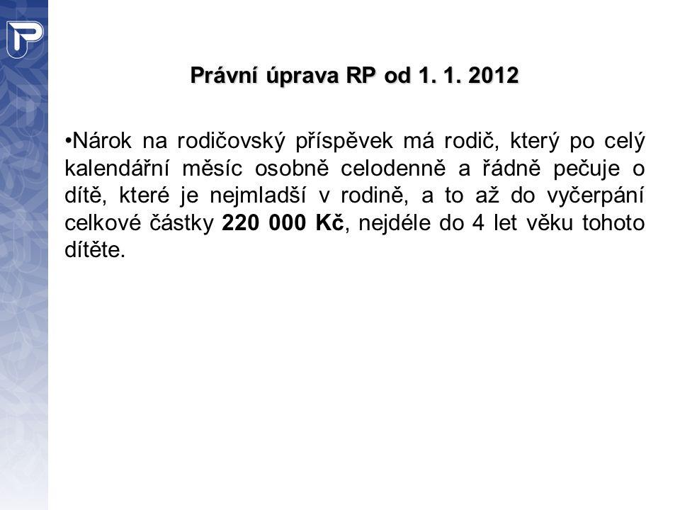 Právní úprava RP od 1. 1. 2012 Nárok na rodičovský příspěvek má rodič, který po celý kalendářní měsíc osobně celodenně a řádně pečuje o dítě, které je