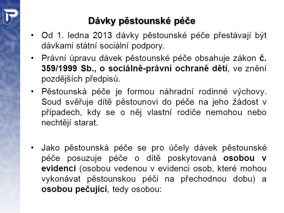 Dávky pěstounské péče Od 1. ledna 2013 dávky pěstounské péče přestávají být dávkami státní sociální podpory. Právní úpravu dávek pěstounské péče obsah