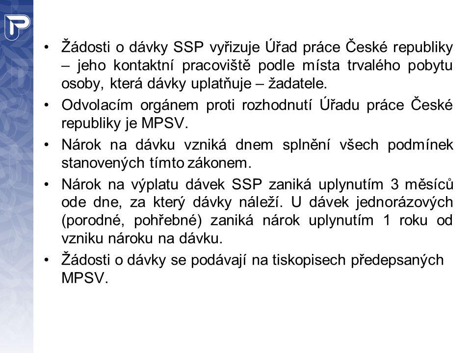Žádosti o dávky SSP vyřizuje Úřad práce České republiky – jeho kontaktní pracoviště podle místa trvalého pobytu osoby, která dávky uplatňuje – žadatel