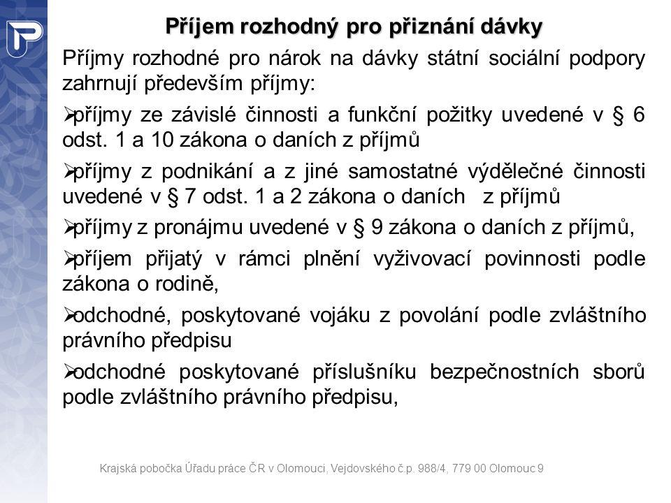 Krajská pobočka Úřadu práce ČR v Olomouci, Vejdovského č.p. 988/4, 779 00 Olomouc 9 Příjem rozhodný pro přiznání dávky Příjmy rozhodné pro nárok na dá