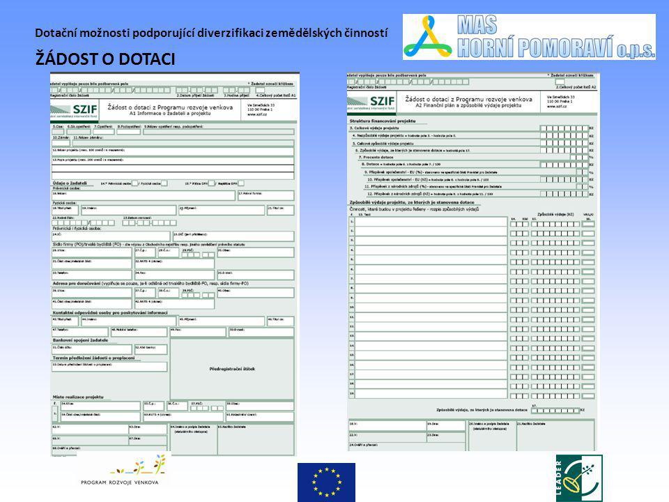 Dotační možnosti podporující diverzifikaci zemědělských činností ŽÁDOST O DOTACI