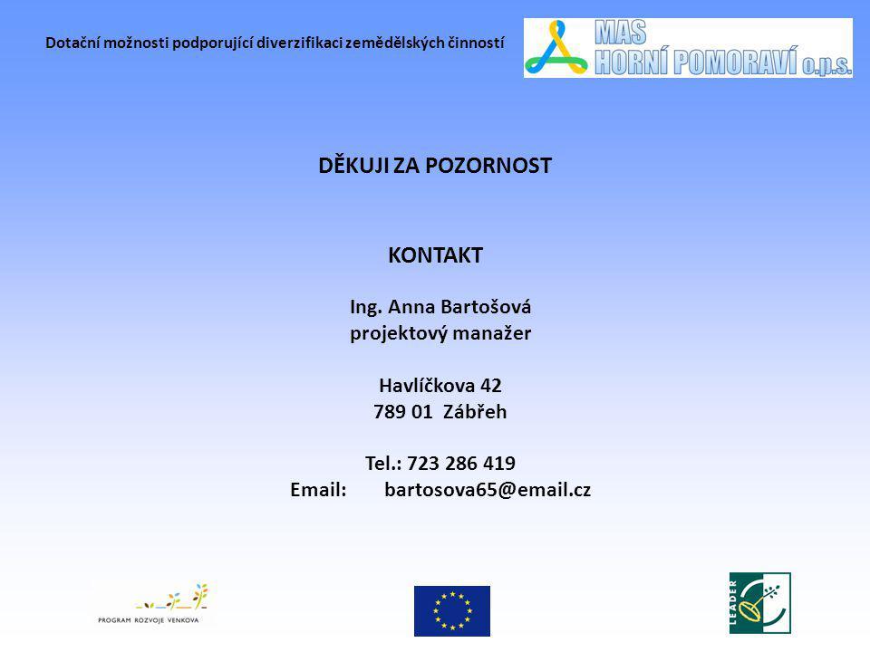 Dotační možnosti podporující diverzifikaci zemědělských činností KONTAKT Ing. Anna Bartošová projektový manažer Havlíčkova 42 789 01 Zábřeh Tel.: 723