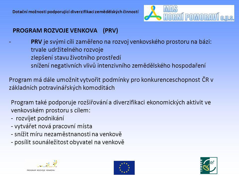 Dotační možnosti podporující diverzifikaci zemědělských činností PROGRAM ROZVOJE VENKOVA (PRV) Program také podporuje rozšiřování a diverzifikaci ekon