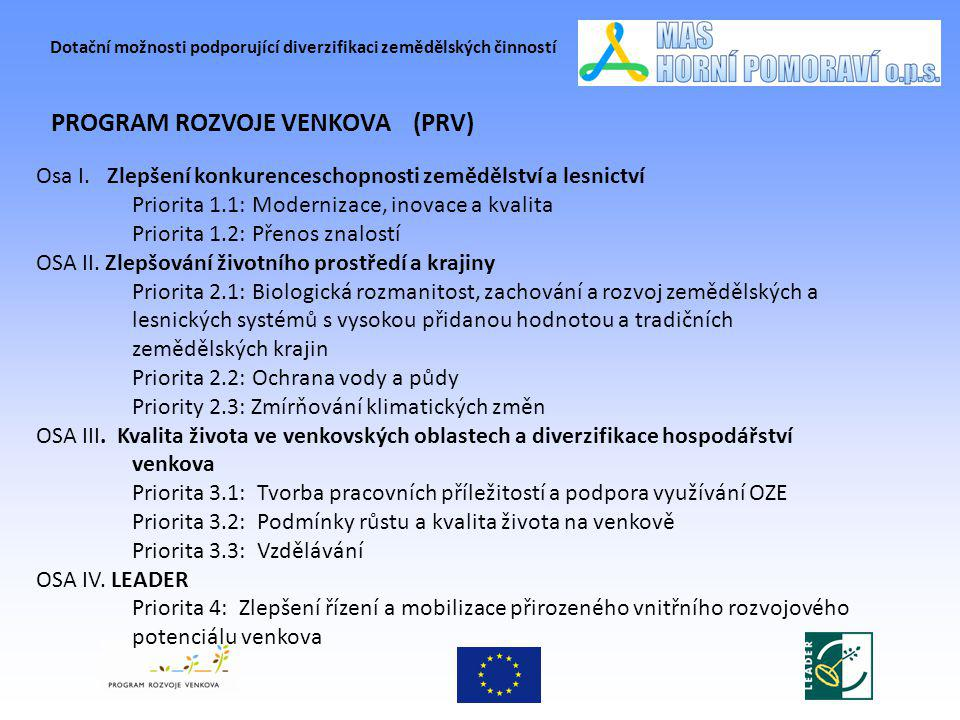 Dotační možnosti podporující diverzifikaci zemědělských činností PROGRAM ROZVOJE VENKOVA (PRV) Osa I. Zlepšení konkurenceschopnosti zemědělství a lesn