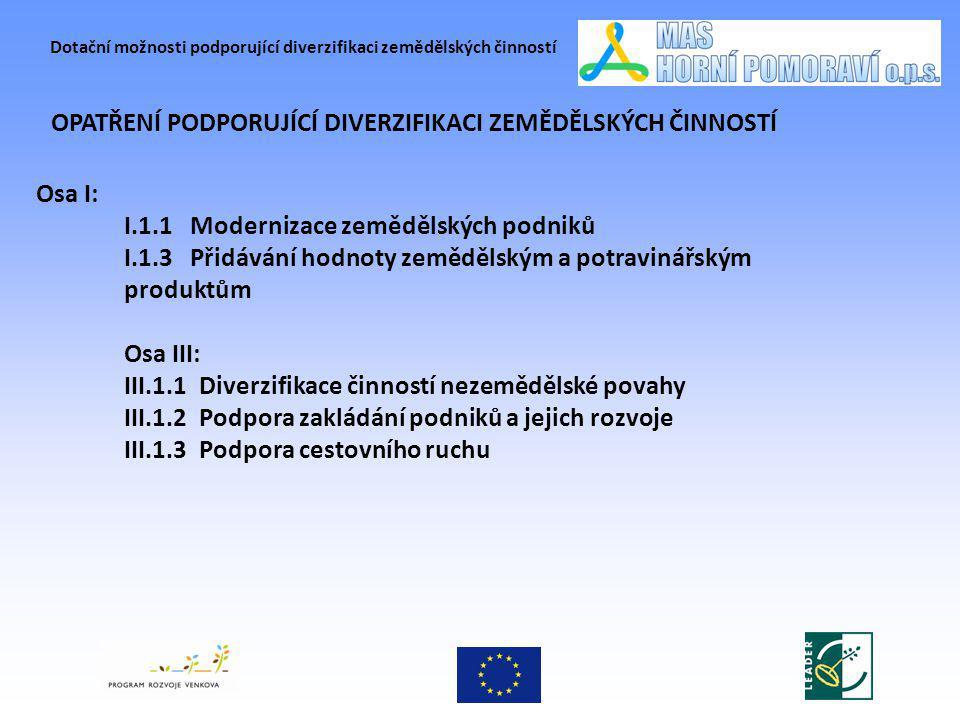 Dotační možnosti podporující diverzifikaci zemědělských činností OPATŘENÍ PODPORUJÍCÍ DIVERZIFIKACI ZEMĚDĚLSKÝCH ČINNOSTÍ Osa I: I.1.1 Modernizace zem