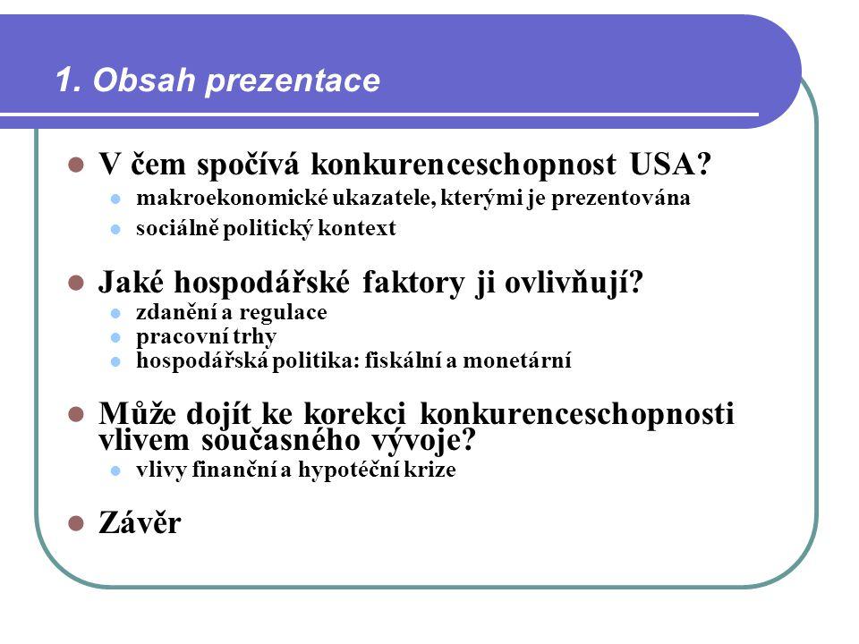 1. Obsah prezentace V čem spočívá konkurenceschopnost USA? makroekonomické ukazatele, kterými je prezentována sociálně politický kontext Jaké hospodář