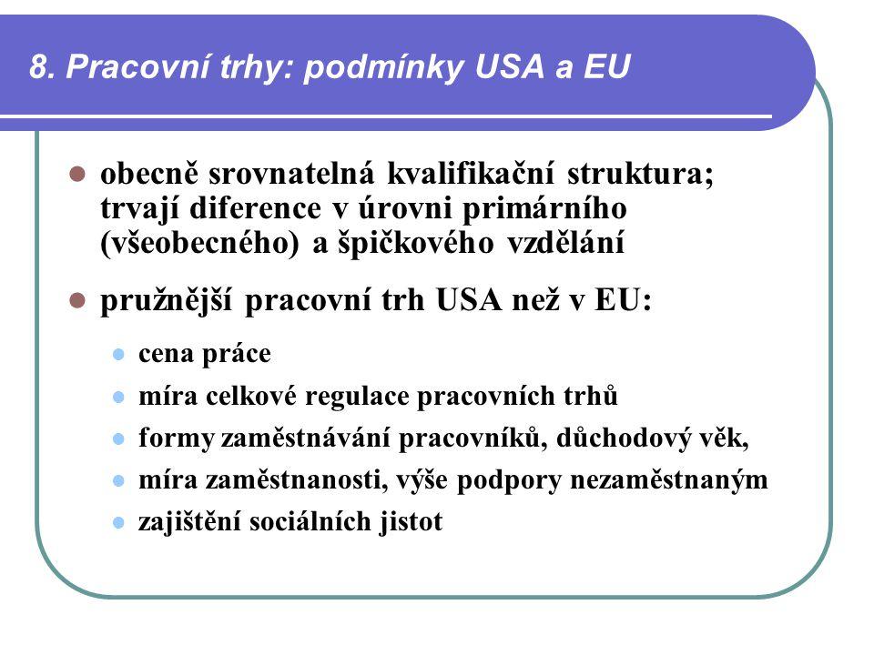 8. Pracovní trhy: podmínky USA a EU obecně srovnatelná kvalifikační struktura; trvají diference v úrovni primárního (všeobecného) a špičkového vzdělán