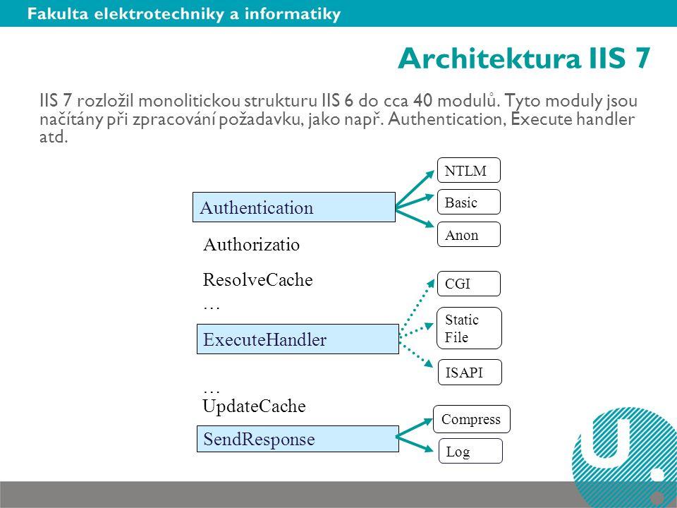 Architektura IIS 7 IIS 7 rozložil monolitickou strukturu IIS 6 do cca 40 modulů.