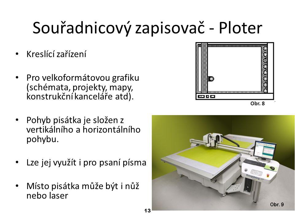 13 Souřadnicový zapisovač - Ploter Kreslící zařízení Pro velkoformátovou grafiku (schémata, projekty, mapy, konstrukční kanceláře atd). Pohyb pisátka