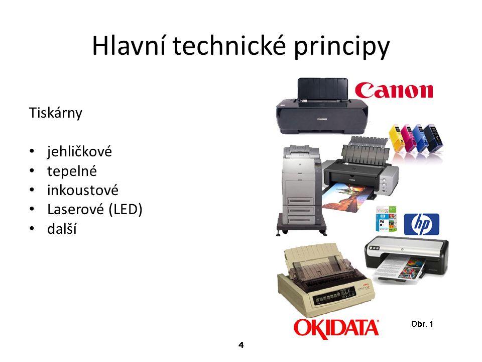 4 Hlavní technické principy Tiskárny jehličkové tepelné inkoustové Laserové (LED) další