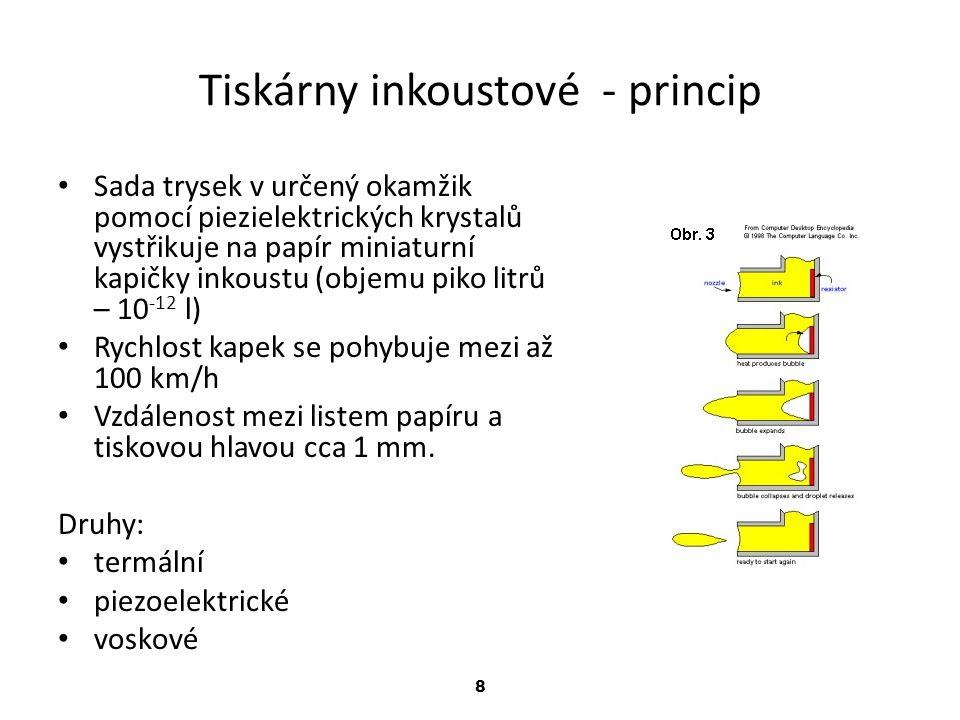 8 Tiskárny inkoustové - princip Sada trysek v určený okamžik pomocí piezielektrických krystalů vystřikuje na papír miniaturní kapičky inkoustu (objemu