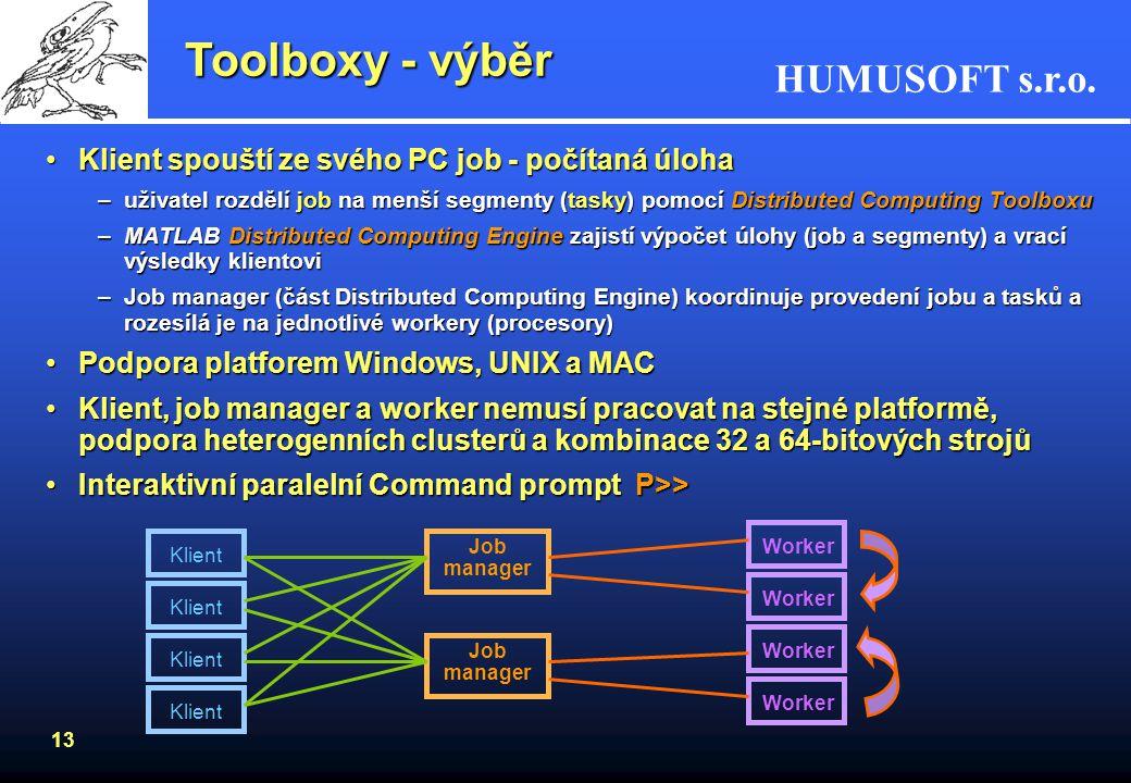 HUMUSOFT s.r.o. 12 Toolboxy - výběr Distributed Computing ToolboxDistributed Computing Toolbox –umožňuje koordinovat a provádět nezávislé výpočty v MA