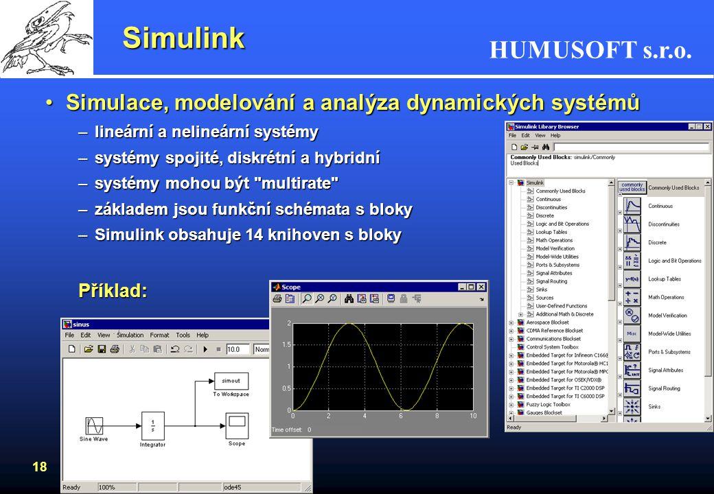 HUMUSOFT s.r.o. 17 Toolboxy - výběr Další toolboxy: –Curve Fitting –Aerospace –Data Acquisition –SimBiology –Database –Filter Design –Statistics –Mapp