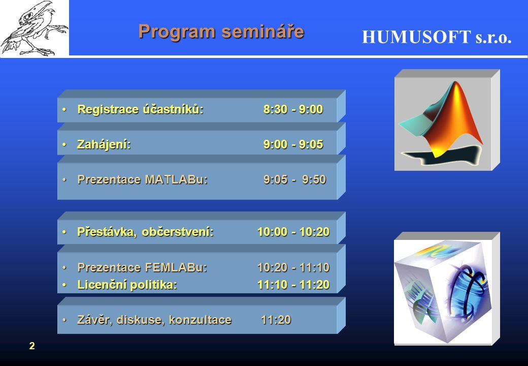 HUMUSOFT s.r.o. 1 Karel Bittner Bittner@humusoft.cz Pavel Beneš Benes@humusoft.cz www.humusoft.cz MATLABMATLAB COMSOL MultiphysicsCOMSOL Multiphysics