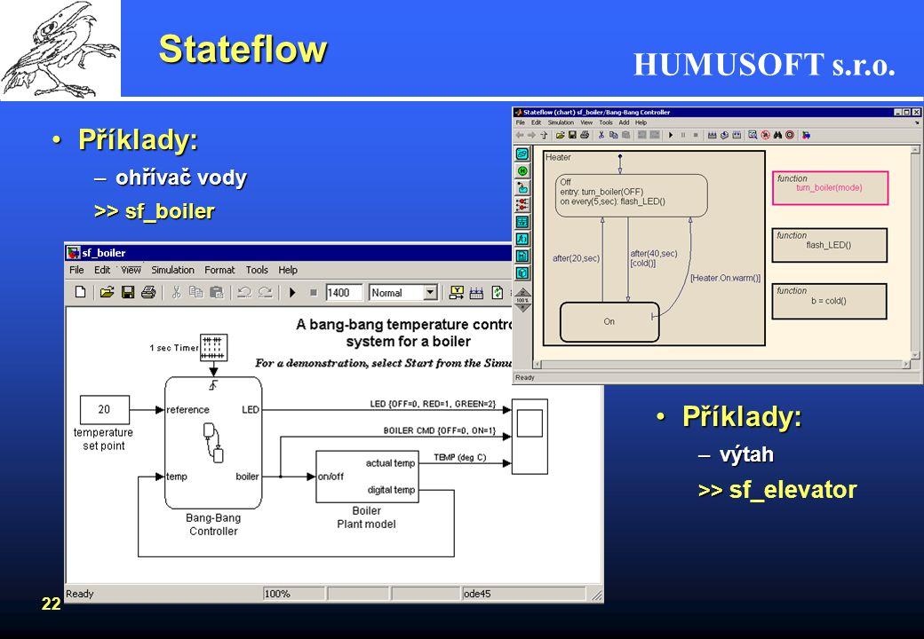 HUMUSOFT s.r.o. 21 Stateflow Grafické a vývojové prostředí pro systémy založené na teorii konečných stavů strojůGrafické a vývojové prostředí pro syst