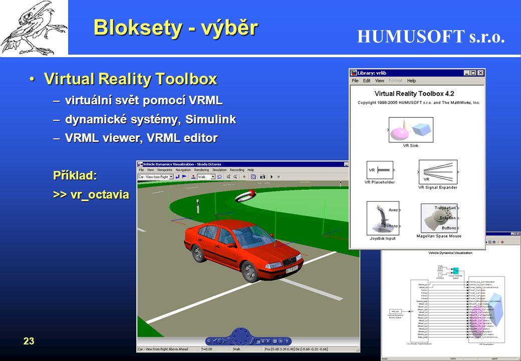 HUMUSOFT s.r.o. 22 Stateflow Příklady:Příklady: –ohřívač vody >> sf_boiler Příklady:Příklady: –výtah >> >> sf_elevator
