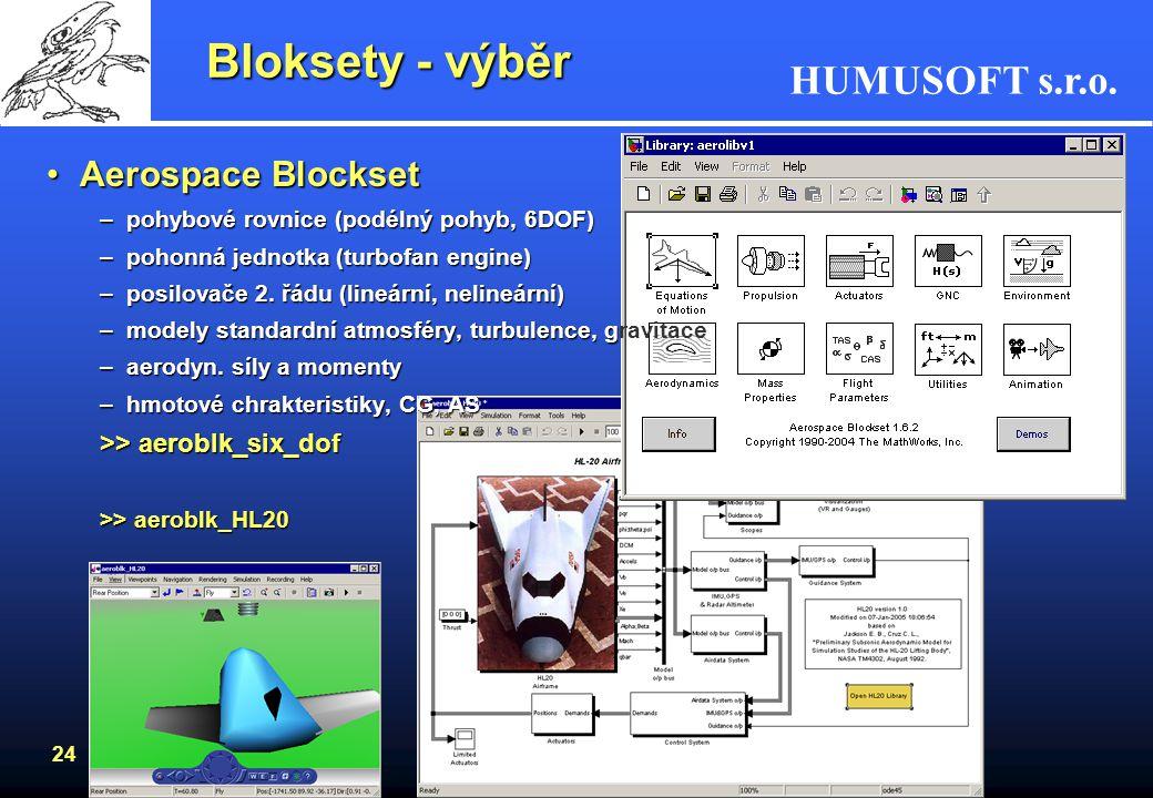 HUMUSOFT s.r.o. 23 Virtual Reality ToolboxVirtual Reality Toolbox –virtuální svět pomocí VRML –dynamické systémy, Simulink –VRML viewer, VRML editor P
