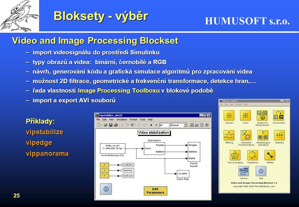HUMUSOFT s.r.o. 24 Bloksety - výběr Aerospace BlocksetAerospace Blockset –pohybové rovnice (podélný pohyb, 6DOF) –pohonná jednotka (turbofan engine) –