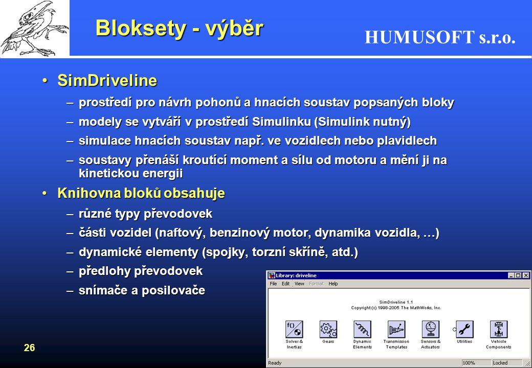 HUMUSOFT s.r.o. 25 Bloksety - výběr Video and Image Processing Blockset –import videosignálu do prostředí Simulinku –typy obrazů a videa: binární, čer