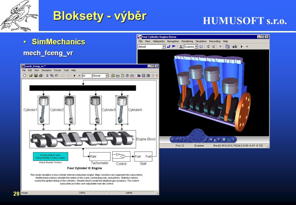 HUMUSOFT s.r.o. 28 Bloksety - výběr SimMechanicsSimMechanics –prostředí pro simulaci a modelování strojů jako tuhých těles popsaných bloky –modely se