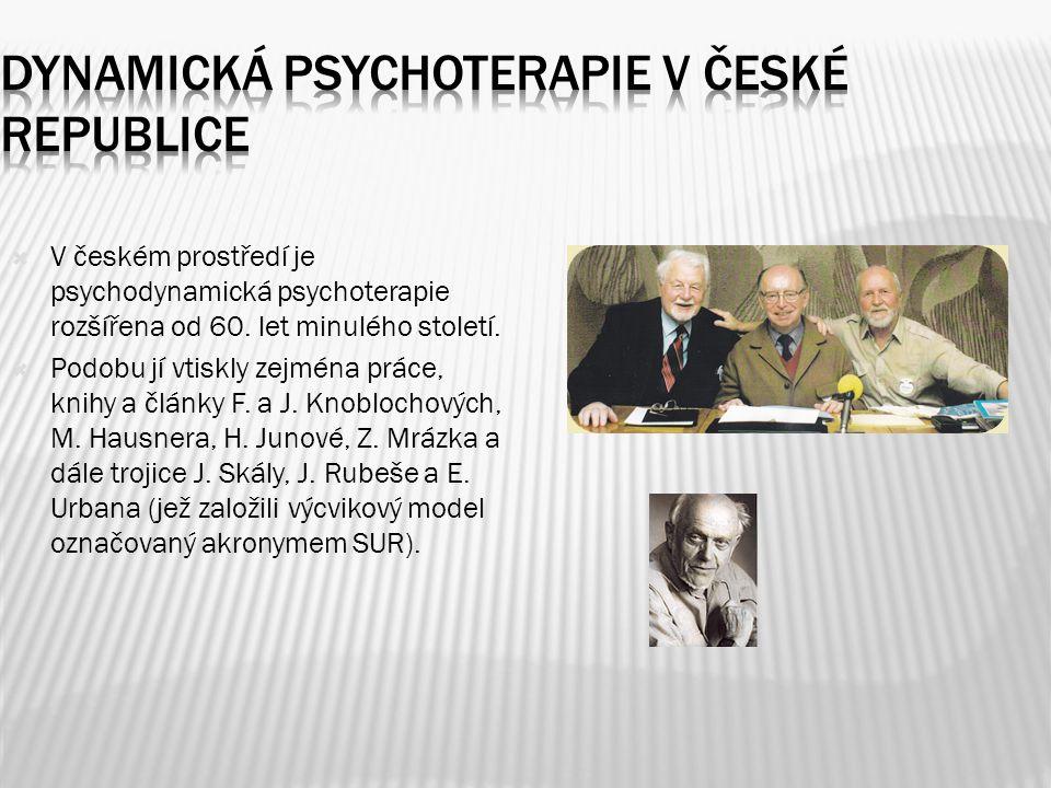  V českém prostředí je psychodynamická psychoterapie rozšířena od 60. let minulého století.  Podobu jí vtiskly zejména práce, knihy a články F. a J.