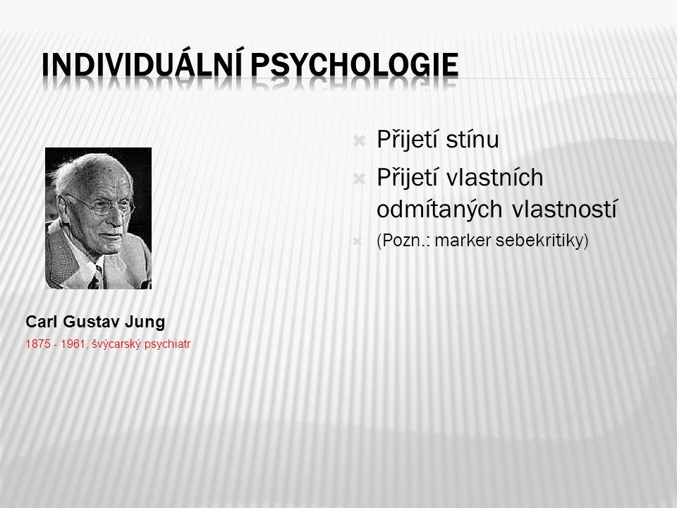  Přijetí stínu  Přijetí vlastních odmítaných vlastností  (Pozn.: marker sebekritiky) Carl Gustav Jung 1875 - 1961, švýcarský psychiatr