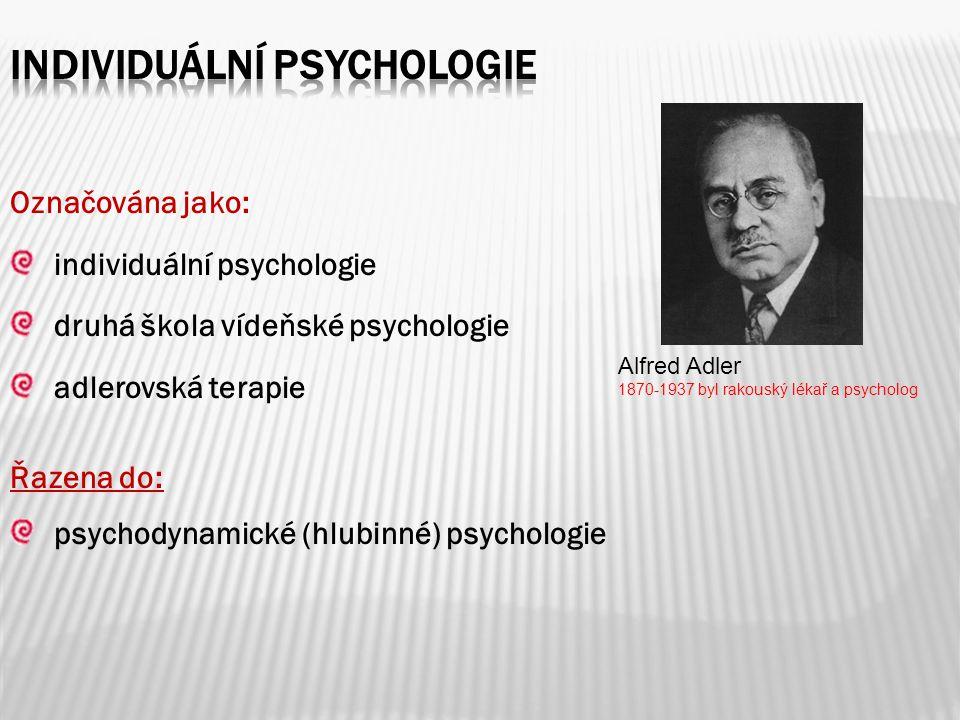 Označována jako: individuální psychologie druhá škola vídeňské psychologie adlerovská terapie Řazena do: psychodynamické (hlubinné) psychologie Alfred Adler 1870-1937 byl rakouský lékař a psycholog