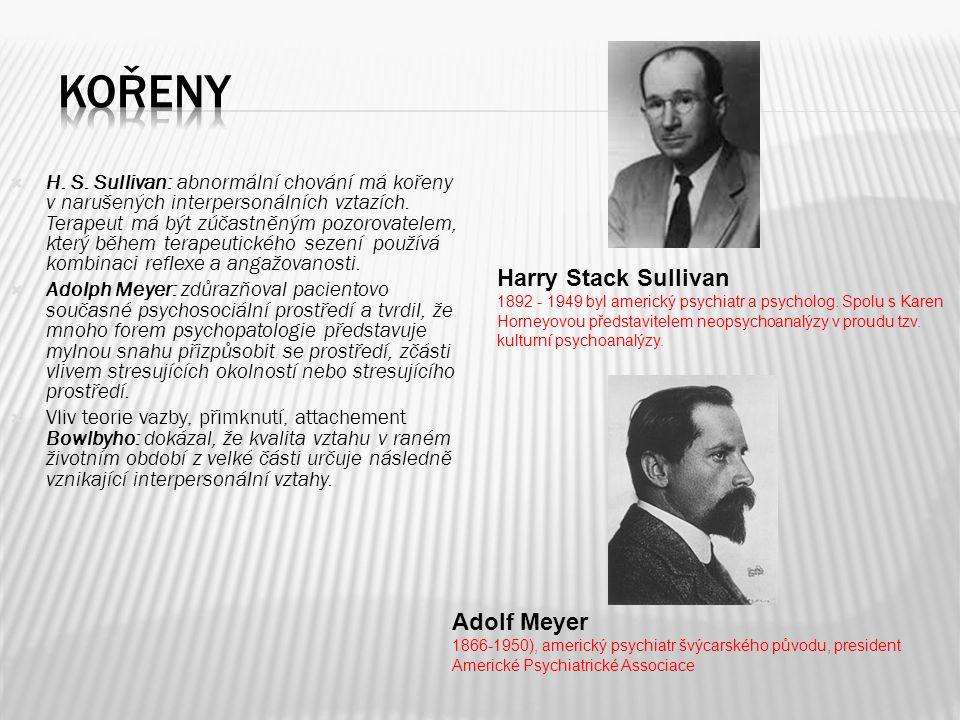  H.S. Sullivan: abnormální chování má kořeny v narušených interpersonálních vztazích.